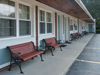 Benches outside the guest rooms